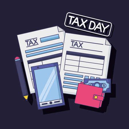 cellphone wallet money pen form tax payment vector illustration