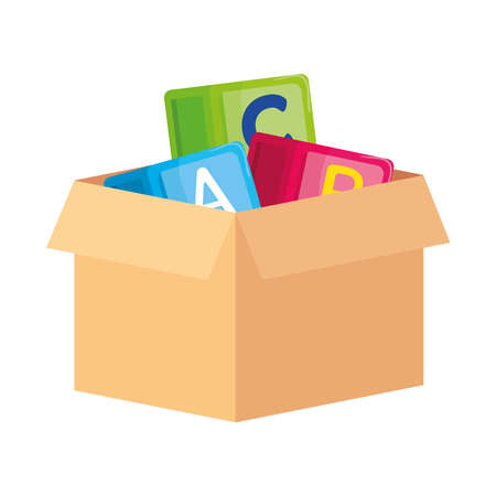 alphabet cubes with letters a, b, c, on box carton, in white background vector illustration design Vecteurs