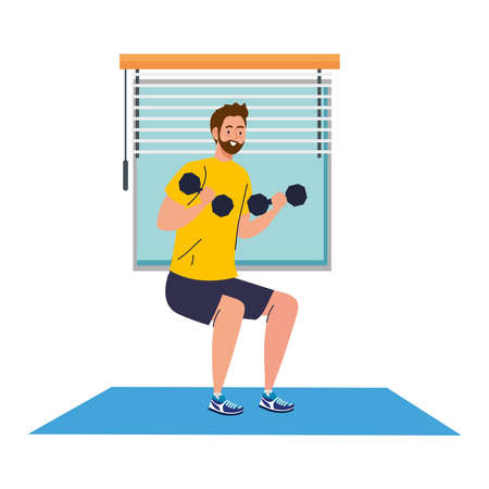 man doing squats with dumbbells in the house, exercise sport recreation vector illustration design