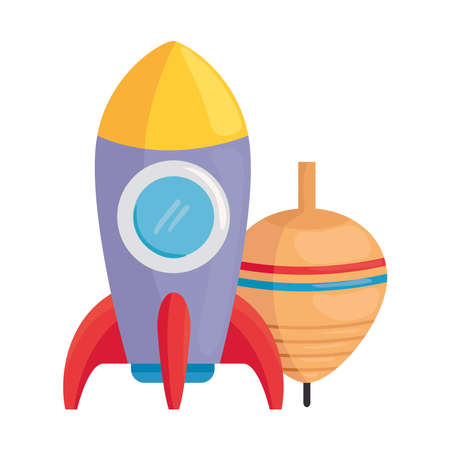 child toys, rocket and spinning toy on white background vector illustration design