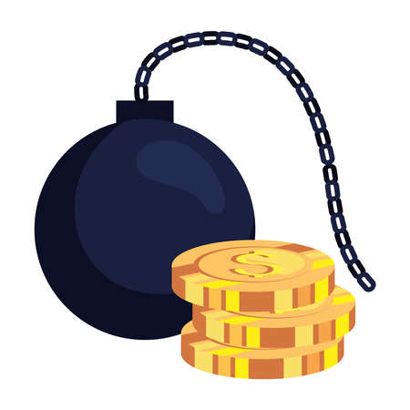 pile coins with slave fetter on white background vector illustration design 向量圖像