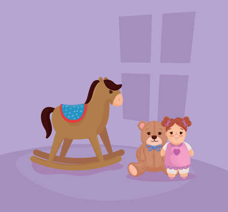 kids toys, on the bedroom vector illustration design
