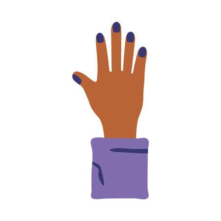 female hand human stop protesting flat style icon vector illustration design Ilustración de vector