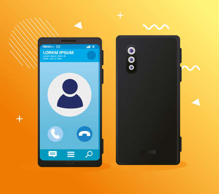 realistic smartphones mockup, with call on screen vector illustration design