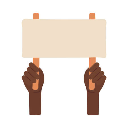 afro hands human protesting with banner flat style icon vector illustration design