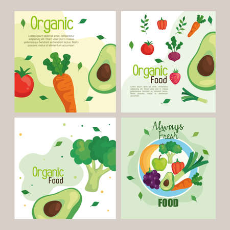 banners with vegetables and fruits, concept healthy food vector illustration design Illusztráció