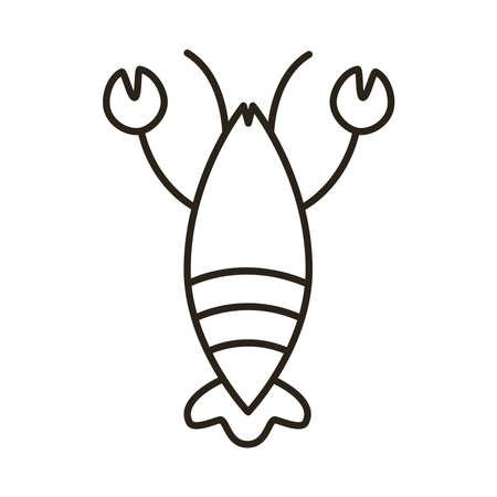 lobster seafood line style icon vector illustration design Иллюстрация