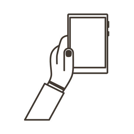hand lifting smartphone vertically line style icon vector illustration design