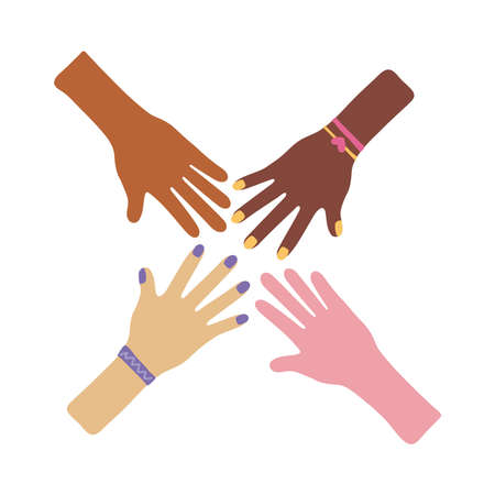 interracial hands teamwork flat style icon vector illustration design