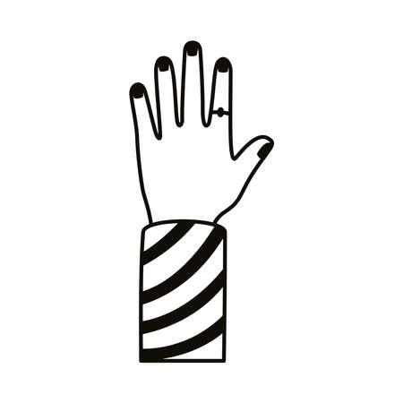 afro hand human up line style icon vector illustration design Ilustração