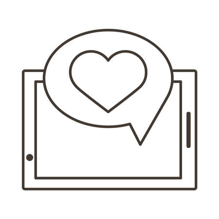 smartphone device with heart in speech bubble line style icon vector illustration design