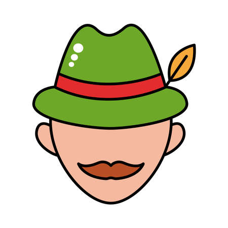 man wearing germany traditional hat accessory line and fill style icon vector illustration design
