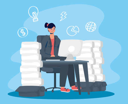 woman using desktop with stress character vector illustration design