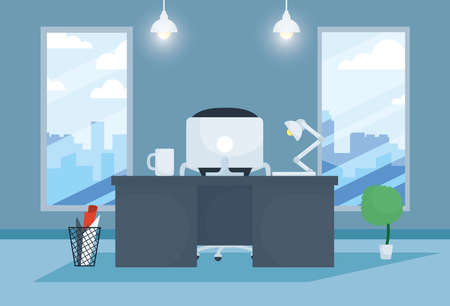 office workplace with desktop scene vector illustration design