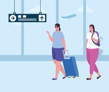 young women with baggages on the airport terminal, passengers female at airport terminal with baggages vector illustration design