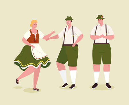 people german in national dress, men and woman in traditional bavarian costume vector illustration design