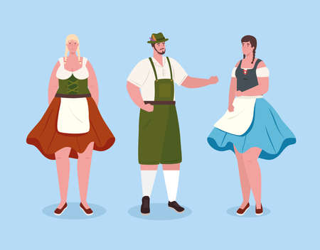 people german in national drees, women and man in traditional bavarian costume vector illustration design