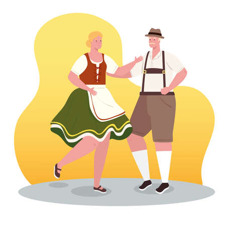 couple german in national dress dancing, woman and man in traditional bavarian costume vector illustration design