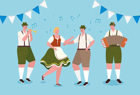 people german in national dress dancing, men and woman in traditional bavarian costume vector illustration design Illustration