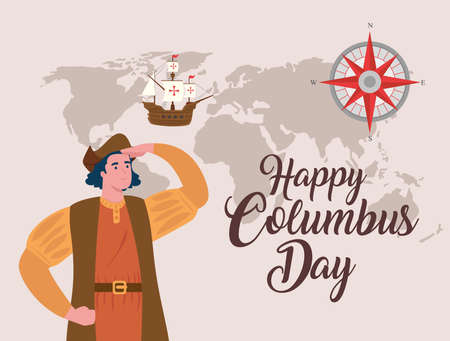 happy columbus day national usa holiday vector illustration design