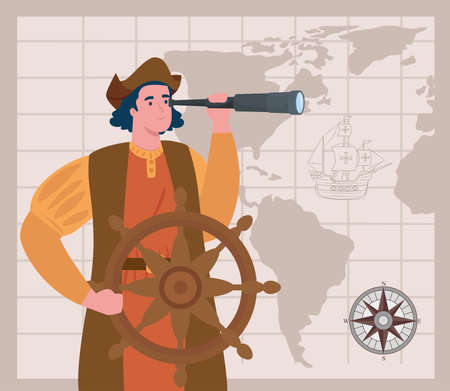happy columbus day national usa holiday, and christopher columbus with telescope vector illustration design