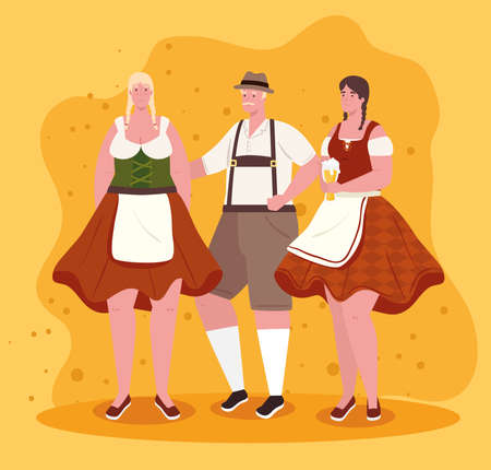 group people german in national drees, women and man in traditional bavarian costume vector illustration design