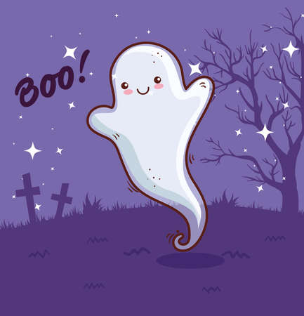 happy halloween, ghost in scene cemetery vector illustration design Ilustração