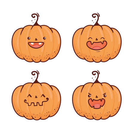 set happy halloween scary pumpkins vector illustration design Vetores