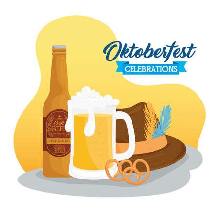 oktoberfest festival celebration with beer craft and hat tyrolean vector illustration design