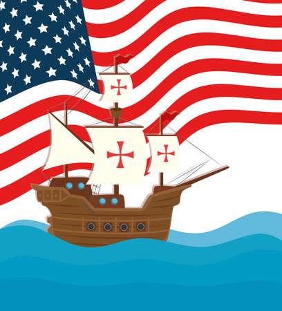 happy columbus day national usa holiday, with ship carabela vector illustration design