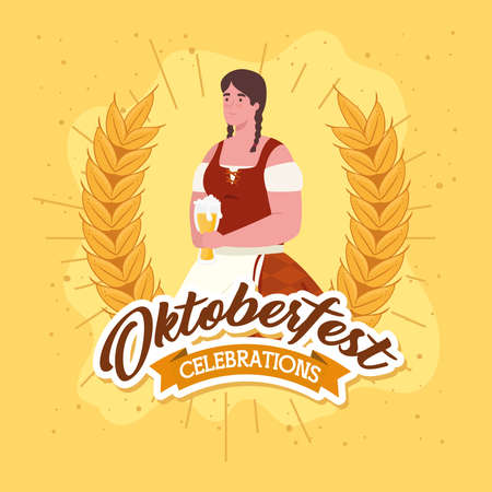 oktoberfest festival celebration and woman with glass beer vector illustration design Иллюстрация