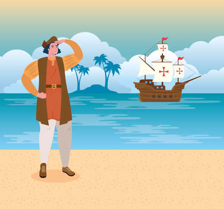 happy columbus day national usa holiday, with christopher columbus watching on the beach vector illustration design