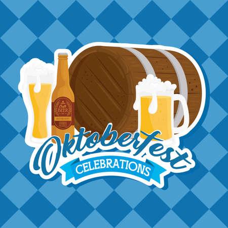 oktoberfest festival celebration with wooden barrel and craft beers vector illustration design