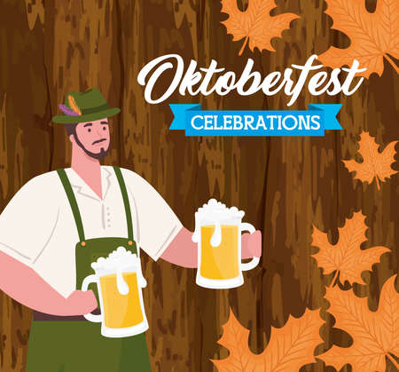 oktoberfest festival celebration and man with jars beers in wooden background vector illustration design