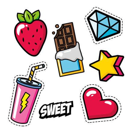 set of stickers fruit soda heart star diamond chocolate decoration pop art elements vector illustration