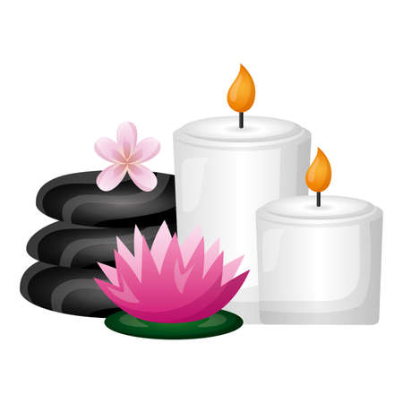 candles stones flowers spa therapy treatment vector illustration