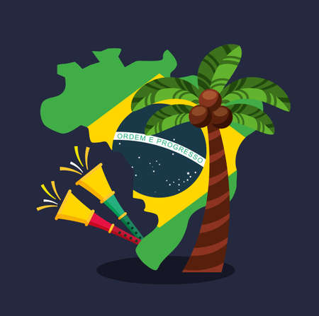 canival of rio brazilian celebration with trumpets and flags vector illustration design