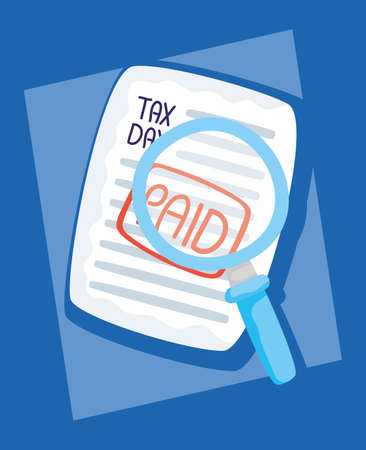 tax day with paid receipt and magnifying glass vector illustration design Vectores