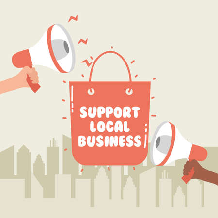 support local business campaign with shopping bag and megaphones vector illustration design