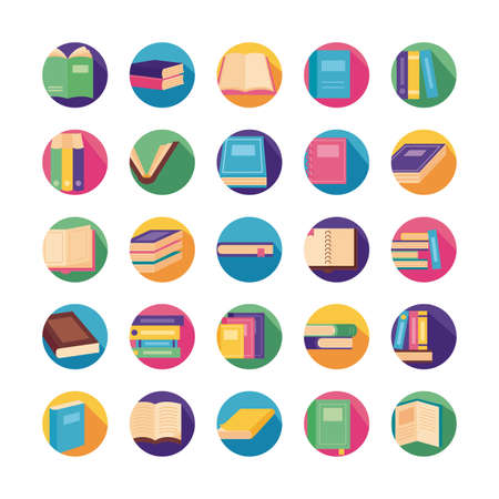 bundle of text books block style icons vector illustration design