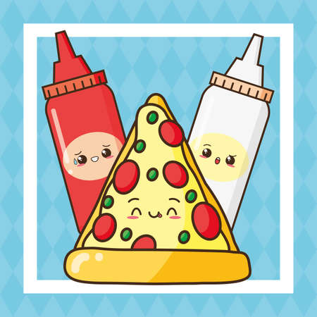 kawaii pizza sauces fast food vector illustration Illustration