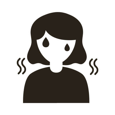 woman with fever silhouette style icon vector illustration design