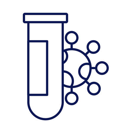 covid19 particle with tube test line style icon vector illustration design