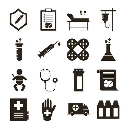 bundle of sixteen medical set collection icons vector illustration design