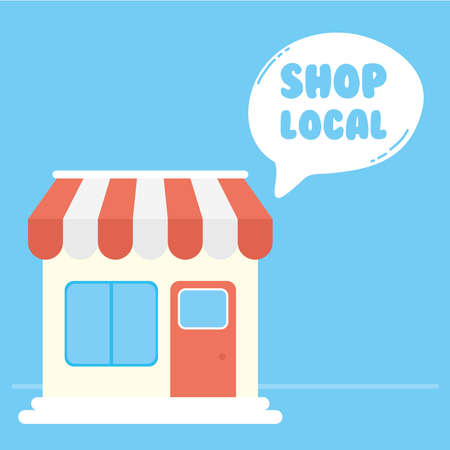 support local business campaign with store building vector illustration design