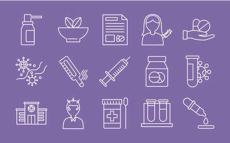 bundle of fifteen medical set icons vector illustration design