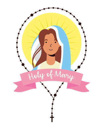 miraculous virgin assumption of mary with rosary vector illustration design