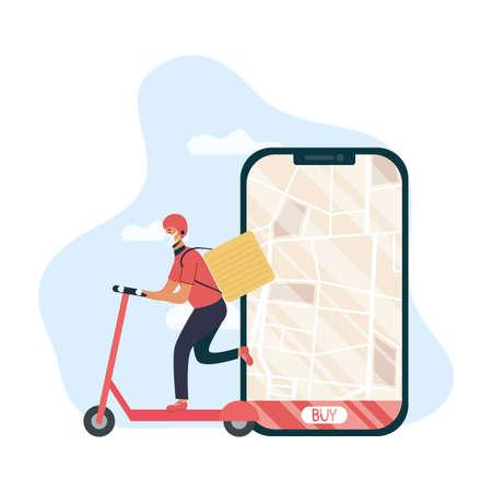 safe food delivery worker in skate and smartphone vector illustration design