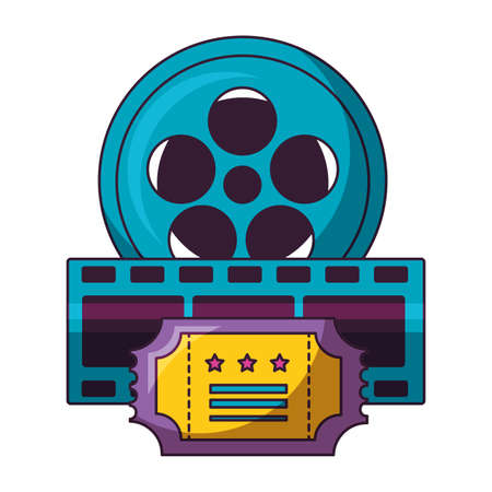 reel film ticket and strip cinema movie vector illustration