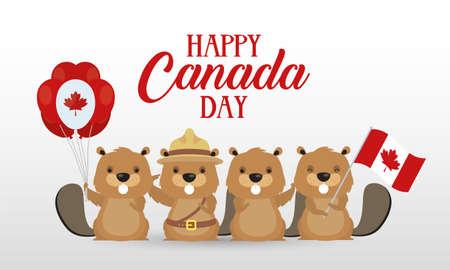 canada day celebration card with beavers vector illustration design Stock Illustratie